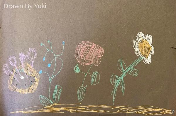 [繪畫] 2021 零散作品集合(三)-吃咖哩飯、小貓與花、香蕉泡巧克力、圖案土司、黑底彩花